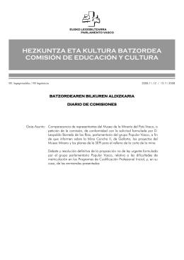 hezkuntza eta kultura batzordea comisión de educación y cultura