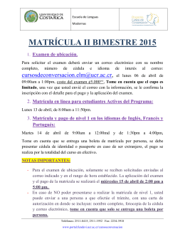 MATRÍCULA II BIMESTRE 2015