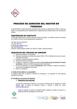 PROCESO DE ADMISIÓN DEL MASTER EN FINANZAS