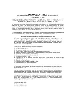 RESUMEN DEL ACTA No. 66 REUNIÓN ORDINARIA