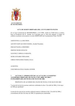 ACTA DE SESION ORDINARIA DEL AYUNTAMIENTO PLENO En la
