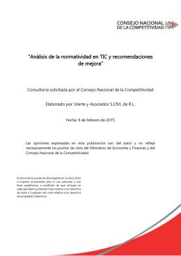 """""""Análisis de la normatividad en TIC y recomendaciones de mejora"""""""