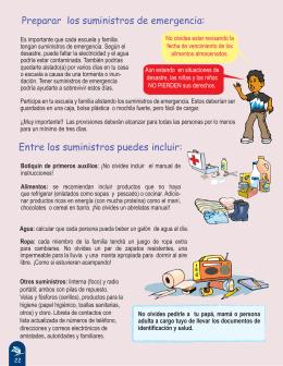 Preparar los suministros de emergencia: Entre los suministros