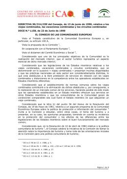 DIRECTIVA 90/314/CEE del Consejo, de 13 de junio de 1990