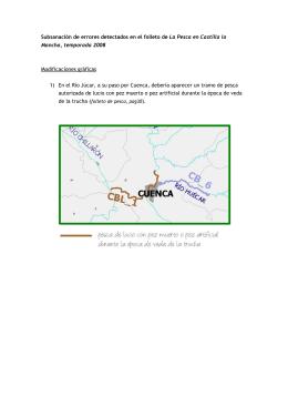 Fe de erratas del folleto y mapa de pesca