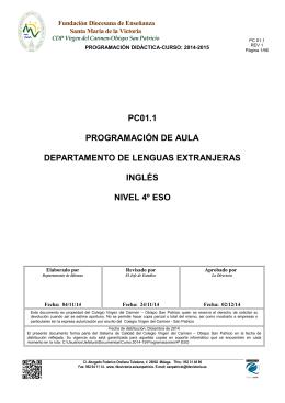 Programación 4º ESO INGLÉS 2014-15