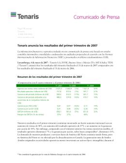 Tenaris anuncia los resultados del primer trimestre de 2007