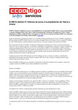 El BBVA destinó 57 millones de euros a la prejubilación de Ybarra y