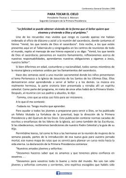 PARA TOCAR EL CIELO - conferencia general
