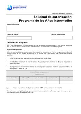 (formulario) solicitud de autorización: programa de los años