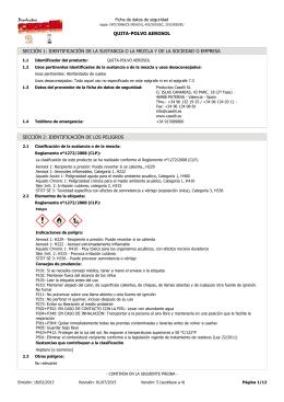 Ficha de datos de seguridad de `QUITA-POLVO AEROSOL