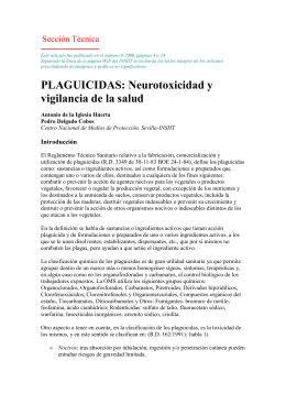 PLAGUICIDAS: Neurotoxicidad y vigilancia de la salud