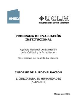 Informe de Autoevaluación - Universidad de Castilla