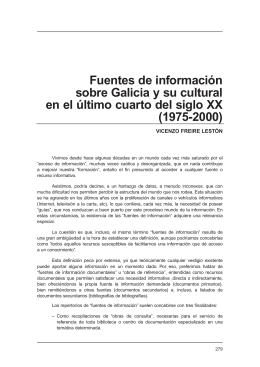 FREIRE LESTÓN, Vicenzo. Fuentes de información sobre Galicia y