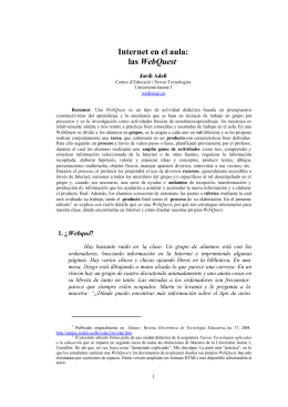 Internet en el aula: las WebQuest - Jordi Adel