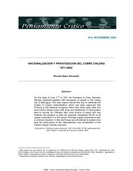 Nacionalización y Privatización del Cobre Chileno