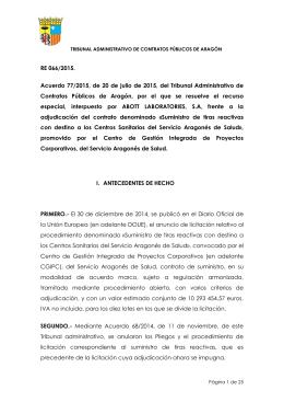Acuerdo 77/2015, de 20 de julio, del Tribunal Administrativo de