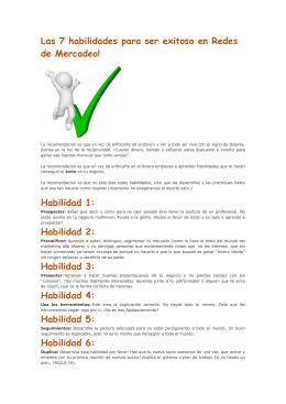 Las 7 habilidades para ser exitoso en Redes de Mercadeo