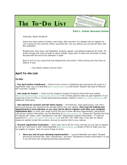 April To–Do List - Baylor University