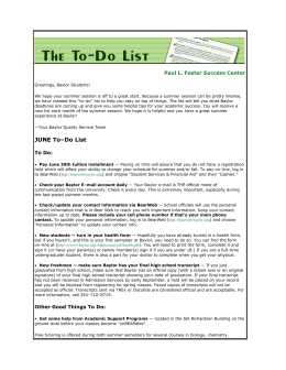 JUNE To–Do List - Baylor University
