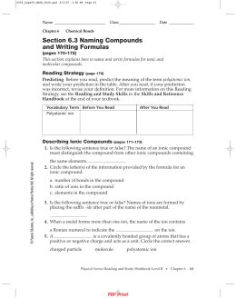 IPLS Section 6.3 Naming Compounds and Writing Formulas