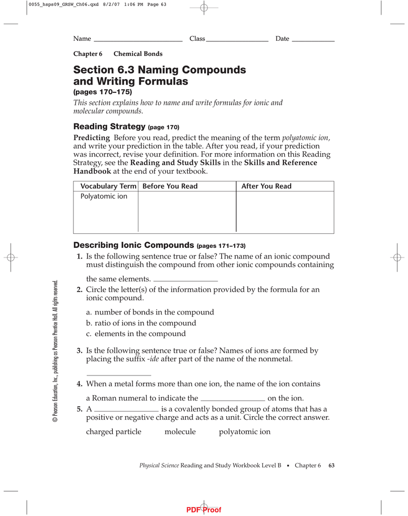 worksheet Naming Compounds And Writing Formulas Worksheet ipls section 6 3 naming compounds and writing formulas