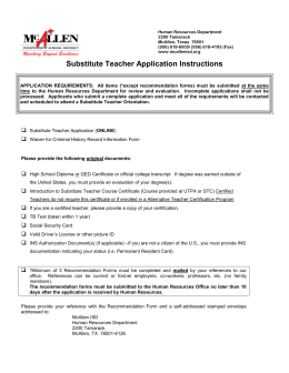 Substitute Teacher Application Instructions