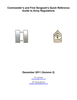 Commander`s and First Sergeant`s Quick
