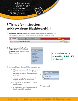 7 Things for Instructors to Know about Blackboard 9.1