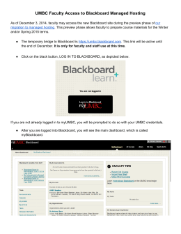 UMBC Faculty Access to Blackboard Managed Hosting