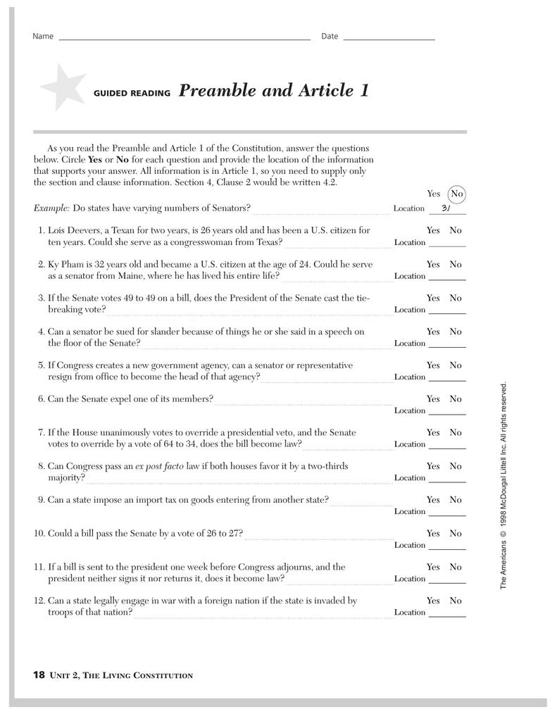 worksheet Preamble Worksheet the living constitution worksheet pdf relangga com preamble and article 1