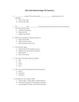 2015 State Biotechnology CDE Questions