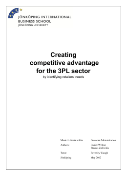 Creating competitive advantage for the 3PL sector by identifying