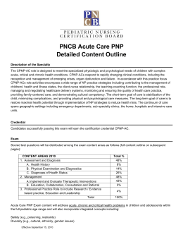 PNCB Acute Care PNP Detailed Content Outline