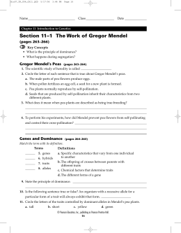 Section 11–1 The Work of Gregor Mendel