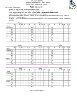 Fetal kick count chart print out