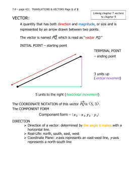 VECTOR – a quantity that has both direction and magnitude, or size