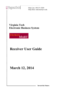 Receiver User Guide - Purchasing Department | Virginia Tech