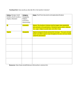 Southern Colonies Graphic Organizer