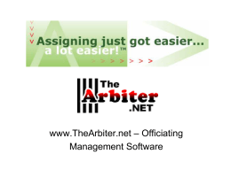 www.TheArbiter.net – Officiating Management Software