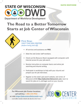 The Road to a Better Tomorrow Starts at Job Center of Wisconsin