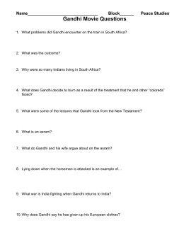 Gandhi Movie Questions - Mrs. Manning`s Social Studies Site