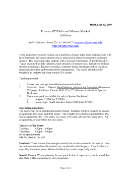 Finance 473 Debt and Money Market Syllabus http://angel.msu.edu