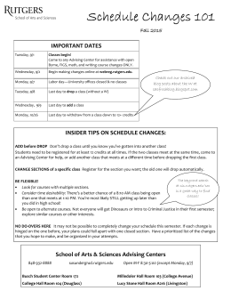 Schedule Changes 2015 - SAS Office of Academic Services