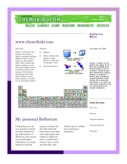 My personal Reflection www.chem4kids.com