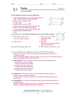 Page 1 Prentice Hall Gold Geometry • Teaching Resources