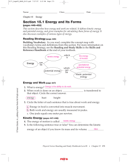 Section 15.1 Energy and Its Forms IPLS