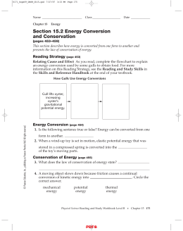 Section 15.2 Energy Conversion and Conservation IPLS