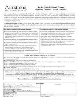 Border State Resident Waiver Alabama – Florida – South Carolina