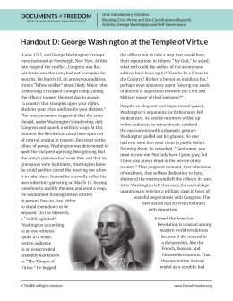 Handout D: George Washington at the Temple of Virtue